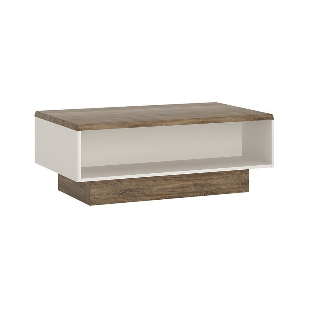 Seville Wide coffee table in Alpine White with high gloss fronts and Stirling Oak